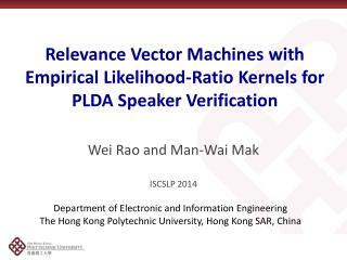 Relevance Vector Machines with Empirical Likelihood-Ratio Kernels for PLDA Speaker Verification