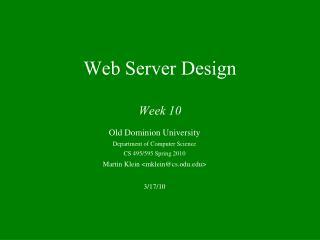Web Server Design Week 10