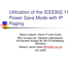 Utilization of the IEEE802.11 Power Save Mode with IP Paging