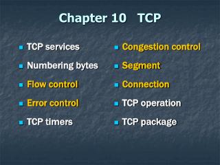 Chapter 10   TCP
