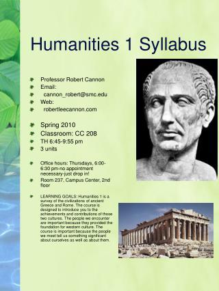 Humanities 1 Syllabus