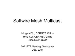 Softwire Mesh Multicast