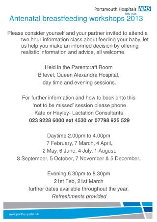 Antenatal breastfeeding workshops 2013