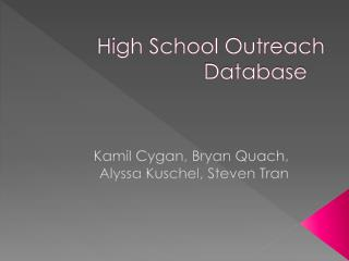 High School Outreach Database
