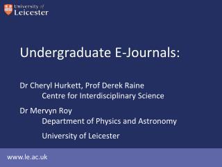 Undergraduate E-Journals: