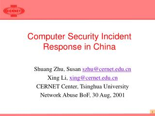 Computer Security Incident Response in China