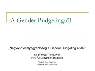 A Gender Budgetingről
