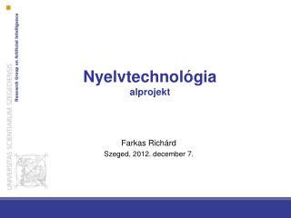 Nyelvtechnológia alprojekt