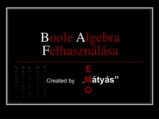 B oole A lgebra F elhasználása
