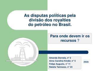 As disputas políticas pela divisão dos royalties do petróleo no Brasil.