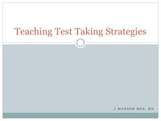 Teaching Test Taking Strategies