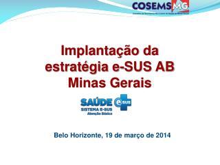 Implantação da estratégia e-SUS AB Minas Gerais