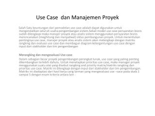 Use Case dan Manajemen Proyek