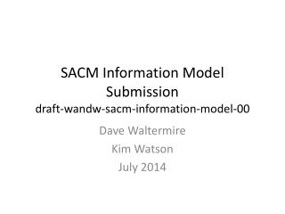 SACM Information  Model  Submission draft-wandw-sacm-information-model-00