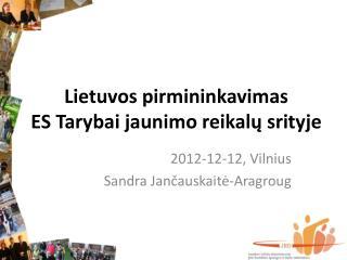Lietuvos pirmininkavimas  ES Tarybai jaunimo reikal ų srityje