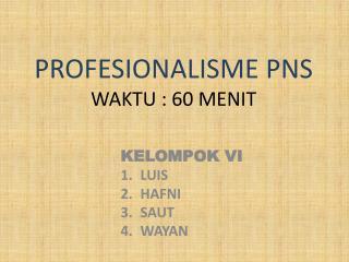 PROFESIONALISME PNS WAKTU : 60 MENIT