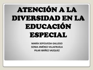 ATENCIÓN A LA DIVERSIDAD EN LA EDUCACIÓN ESPECIAL MARÍA SEPÚLVEDA GALLEGO