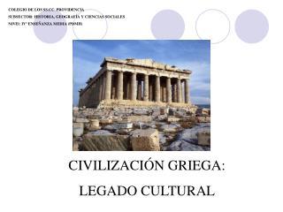 COLEGIO DE LOS SS.CC. PROVIDENCIA SUBSECTOR: HISTORIA, GEOGRAFÍA Y CIENCIAS SOCIALES