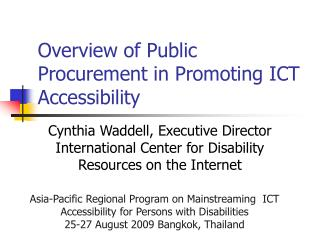 Overview of Public Procurement in Promoting ICT Accessibility