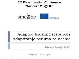 Adapted learning resources Adaptiranje resursa za učenje