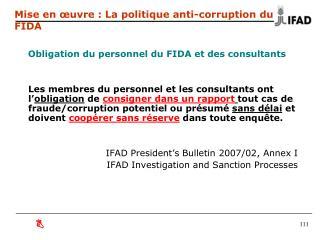 Mise en œuvre : La politique anti-corruption du FIDA