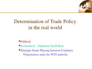 Determination of Trade Policy in the real world
