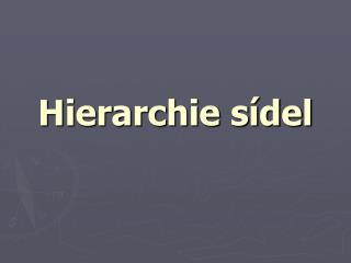 Hierarchie sídel