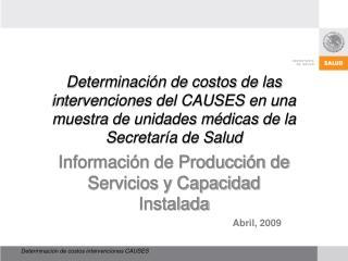 Información de Producción de Servicios y Capacidad Instalada