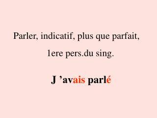 Parler, indicatif, plus que parfait, 1ere pers.du sing.