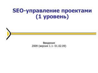 SEO-управление проектами (1 уровень) 