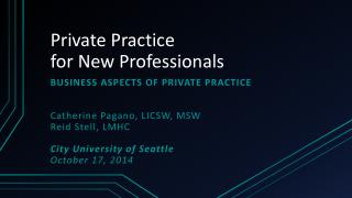 Private Practice for New Professionals