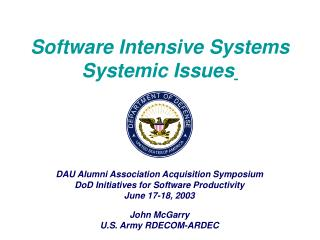 DAU Alumni Association Acquisition Symposium DoD Initiatives for Software Productivity