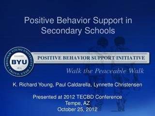 Positive Behavior Support  in Secondary Schools