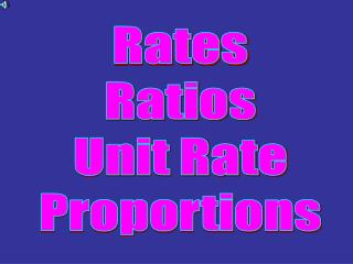Rates Ratios Unit Rate Proportions
