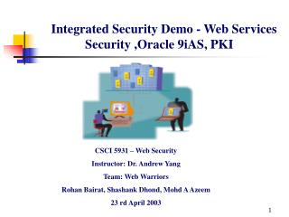 Integrated Security Demo - Web Services Security ,Oracle 9iAS, PKI