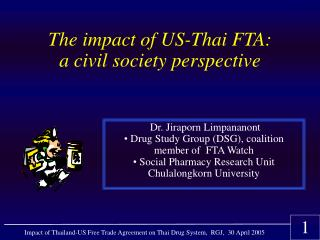 The impact of US-Thai FTA: a civil society perspective
