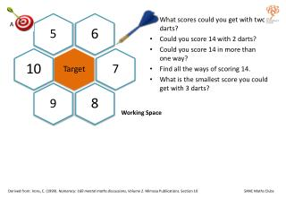 What scores could you get with two darts? Could you score 14 with 2 darts?