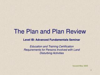 The Plan and Plan Review