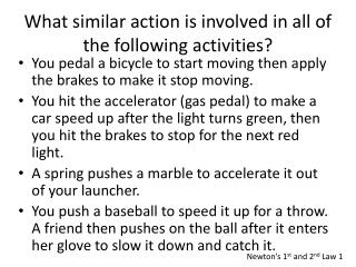 What similar action is involved in all of the following activities?
