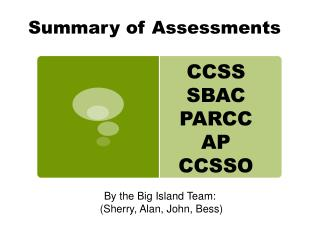 Summary of Assessments