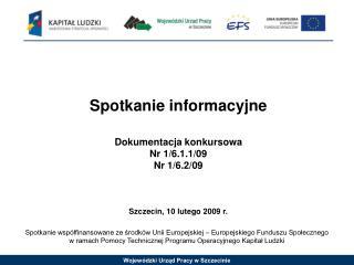 Spotkanie informacyjne Dokumentacja konkursowa Nr 1/6.1.1/09 Nr 1/6.2/09