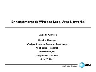 Enhancements to Wireless Local Area Networks