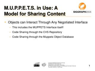 M.U.P.P.E.T.S. in Use: A Model for Sharing Content