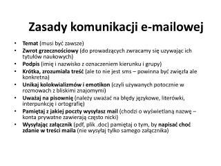 Zasady komunikacji e-mailowej