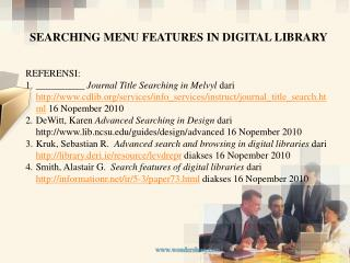 SEARCHING MENU FEATURES IN DIGITAL LIBRARY