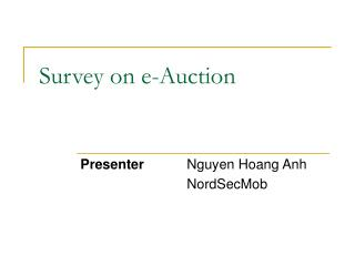 Survey on e-Auction