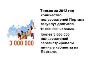 Только за 2012 год количество пользователей Портала госуслуг достигло 15 000 000 человек.
