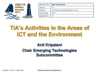 TIA's Activities in the Areas of ICT and the Environment