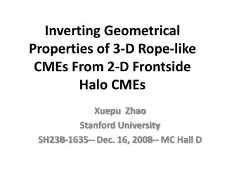 Inverting Geometrical  Properties of 3-D Rope-like CMEs From 2-D Frontside Halo CMEs