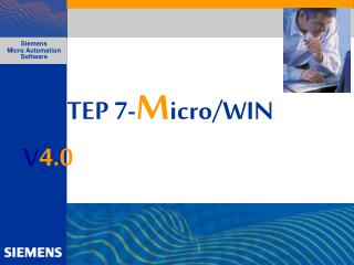STEP 7- M icro/WIN V 4.0